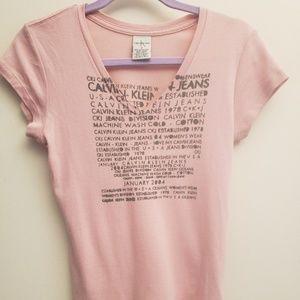 "Calvin Klein Pink Vneck ""Jan. 2004"" Tee M"
